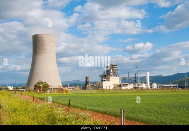 Thermal power station. Puertollano, Ciudad Real province, Castilla La Mancha, Spain. - Stock Image