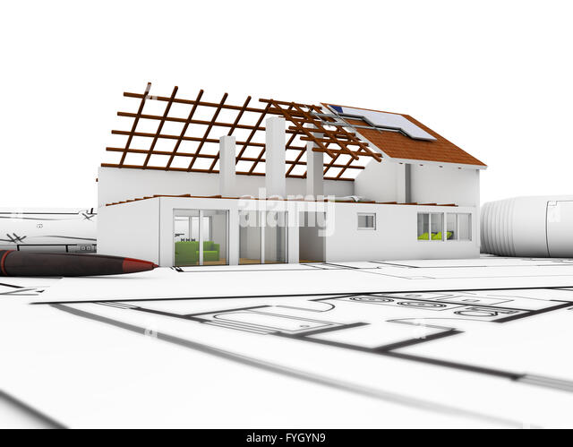 3d render of an architecture model over plots and techncal draws - Stock Image