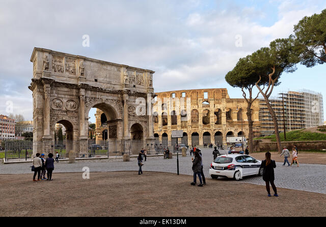 Arch of Constantine next to the Colosseum in Rome, Italy - Stock Image