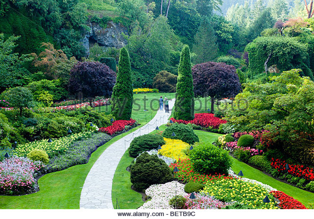Sunken Garden at the Butchart Gardens, Brentwood Bay, Vancouver Island, B.C. - Stock Image