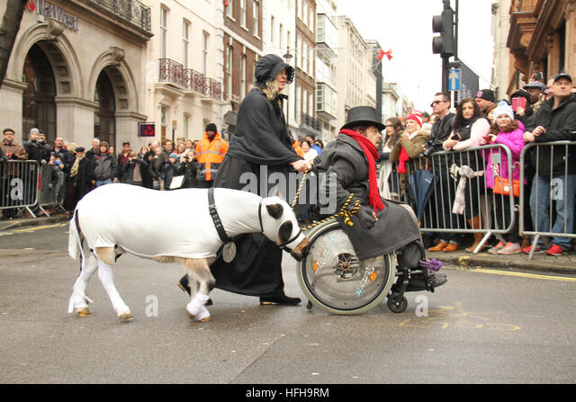 London, UK. 1st January 2017. A performer walks a pony during the New Year's Day Parade in London on January - Stock Image