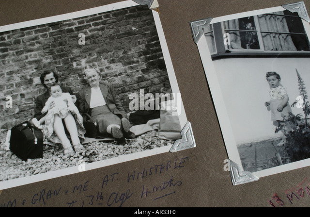 Nostalgia old black and white photographs showing mother grandmother and young child taken in the 1950s - Stock Image