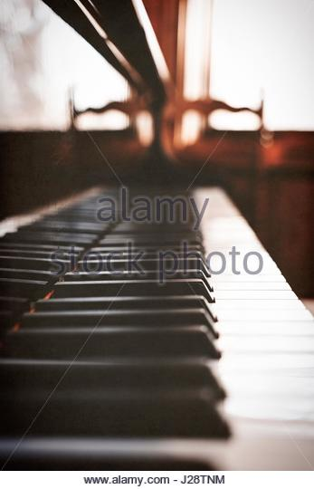Side view of the keys of a piano - Stock Image