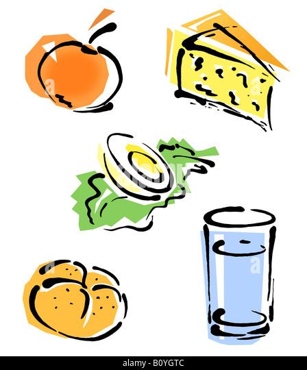 Basic foods, illustration - Stock Image