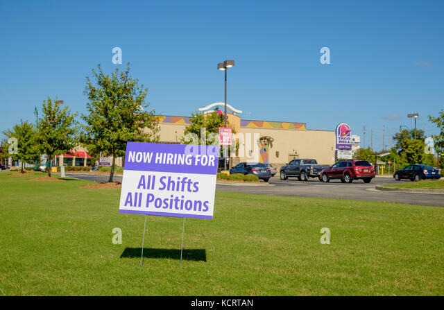 Now hiring for all shifts, all positions, sign at the Taco Bell at the Shoppes at Eastchase Mall area of Montgomery, - Stock Image
