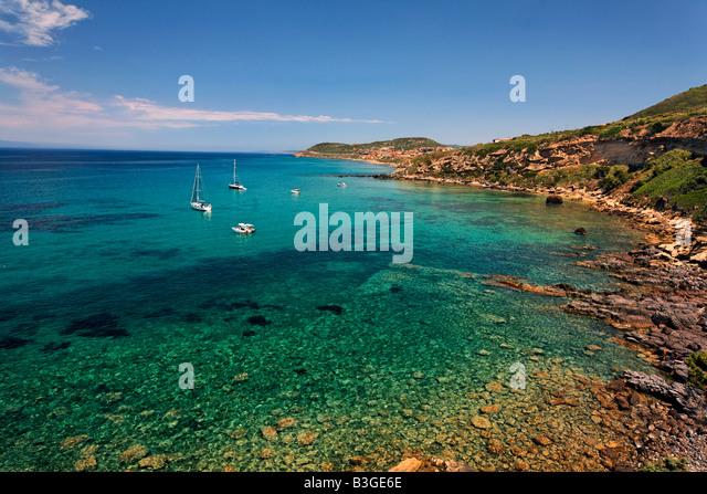 Italy Sardinia bay in Golf dell Asinara north coast - Stock Image