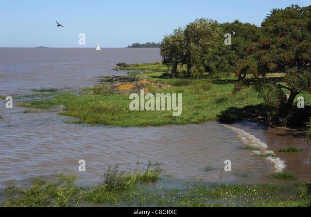 Uruguay, South America, Colonia del Sacramento, coast, sea - Stock Image