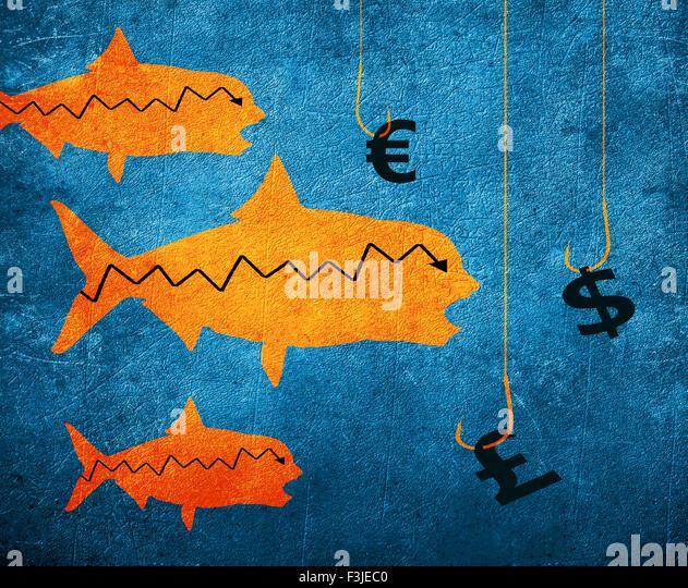 fish fishing hook and money symbol digital illustration - Stock-Bilder
