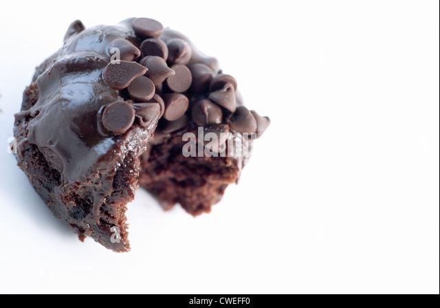 Bite of Mini Chocolate Bundt Cake - Stock Image