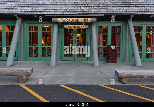 Entry to Paradise Inn in Mount Rainier - Stock Image