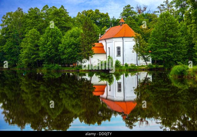 Church on the water in Zwierzyniec, Poland. - Stock Image