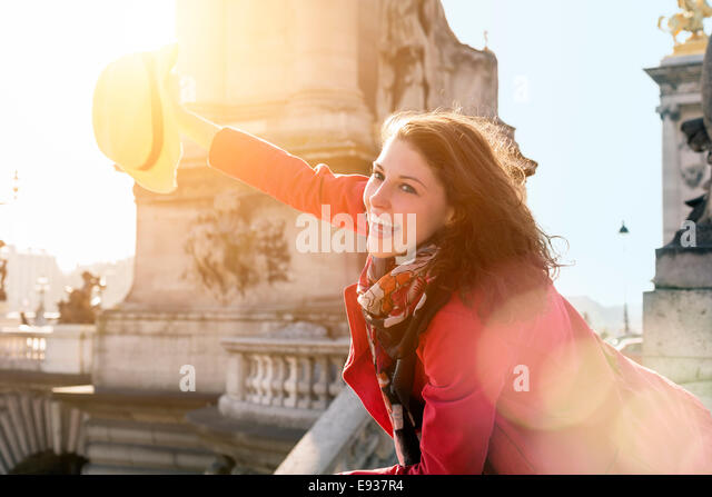 Portrait of woman in Paris - Stock Image