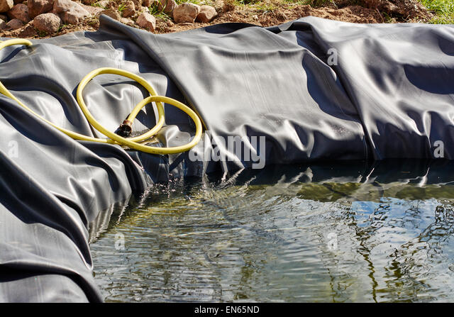 New pond with rubber liner is being filled with water for the first time. - Stock Image
