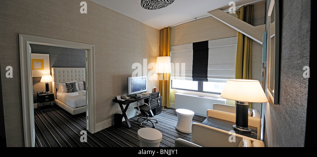 Junior Suite The Marcel Gramercy Hotel 201 24th Street Gramercy Manhattan New York USA Hotel living room city travel - Stock Image