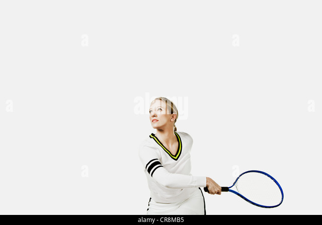 Tennis player holding tennis racket - Stock Image