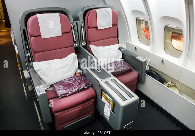 New York New York John F. Kennedy International Airport JFK onboard American Airlines business class seats seating - Stock Image