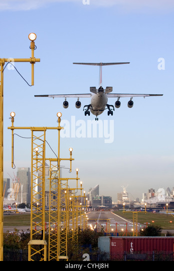 Regional airliner Landing at London City Airport, England, UK - Stock Image