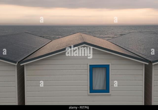 Holiday_Rear view of beach houses, Wijk aan Zee, Netherlands - Stock Image