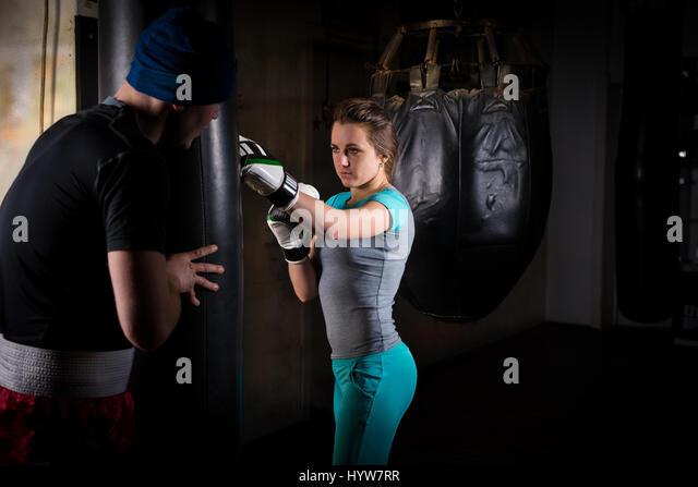 Female Boxing Knockout Punch Stock Photos Female Boxing