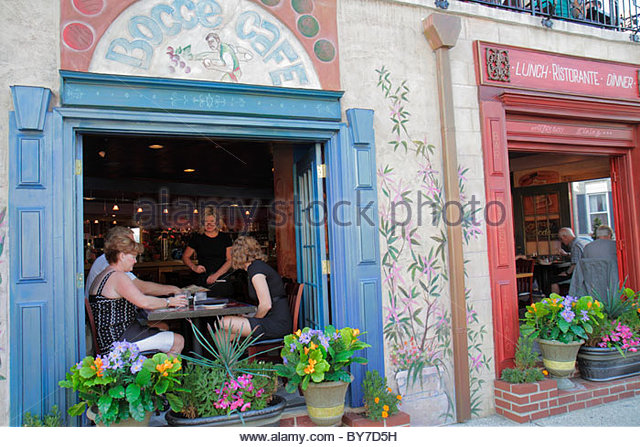 Maryland Baltimore Little Italy ethnic neighborhood Bocce Cafe restaurant business dining Italian cuisine window - Stock Image