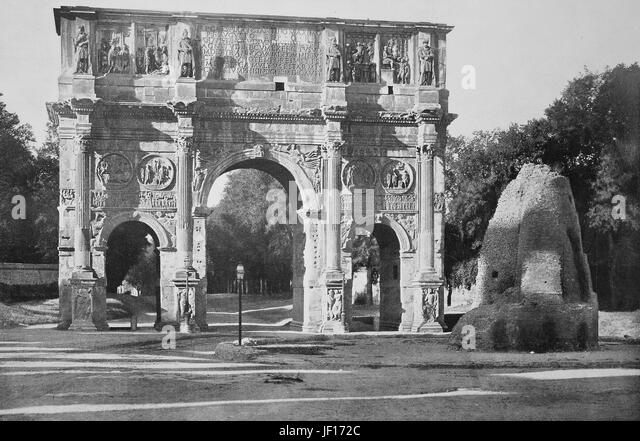 Historical photo of Arch of Constantine, Arco di Costantino, a triumphal arch in Rome, Italy,  Digital improved - Stock Image