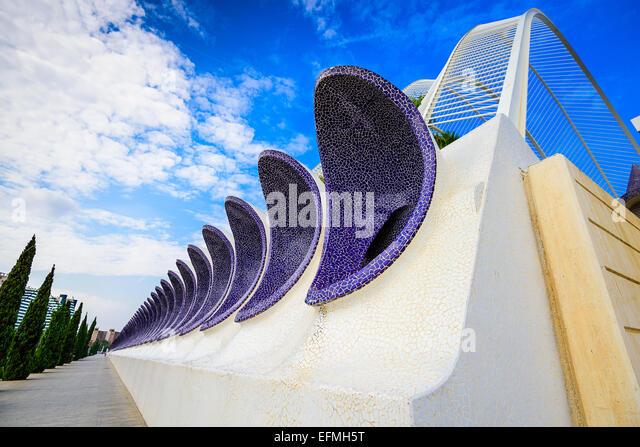 Valencia, Spain sidewalk view. - Stock Image