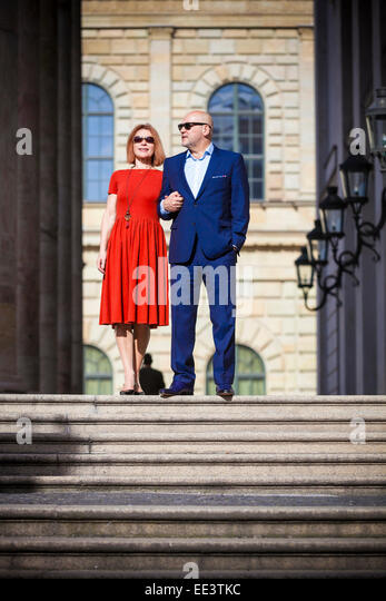Senior couple holding hands, Munich, Bavaria, Germany - Stock-Bilder