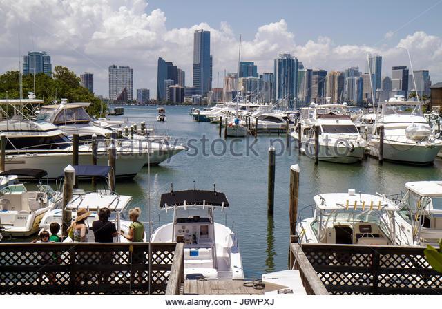 Miami Florida Virginia Key Key Biscayne Rickenbacker Marina downtown skyline view boats yachts - Stock Image