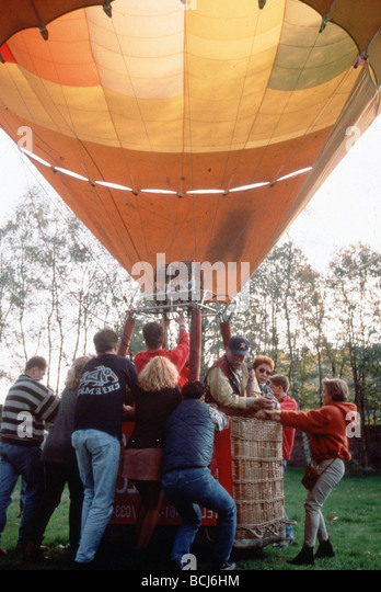 Hot air balloon being prepared for lift off - Stock Image