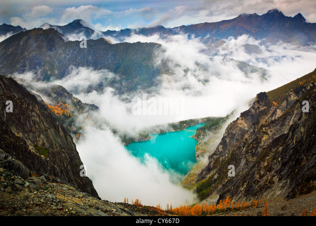 Larch trees at Colchuck Lake in the Enchantment Lakes wilderness - Stock Image