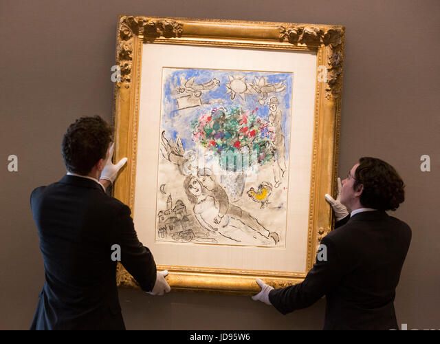 Chagall painting stock photos chagall painting stock for Bouquet de fleurs 2017