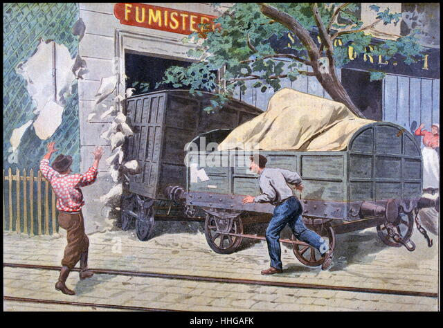 Illustration showing a derailed train crashing in to a building, Paris 1900 - Stock Image