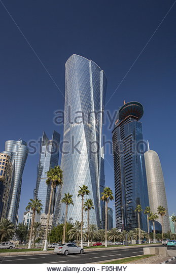Al Bidda Tower and Burj Qatar - Stock Image