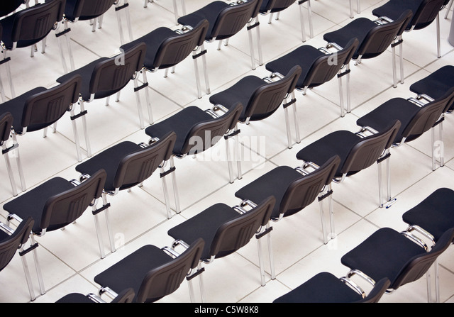 Empty seats in a row, elevated view - Stock Image