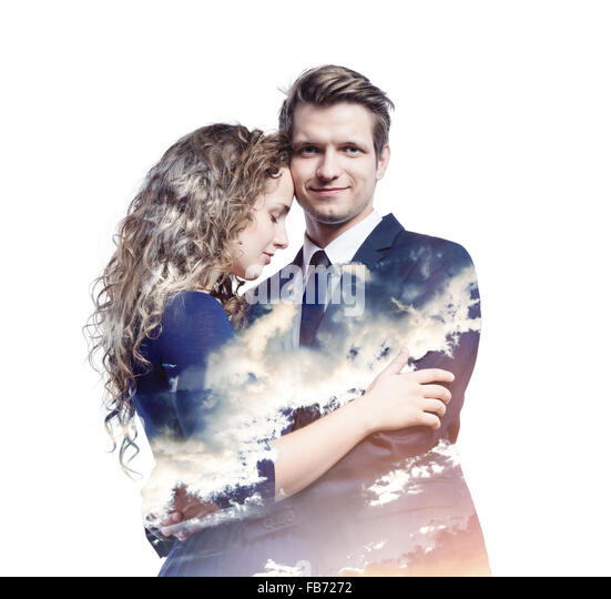 Double exposure of beautiful young couple - Stock-Bilder