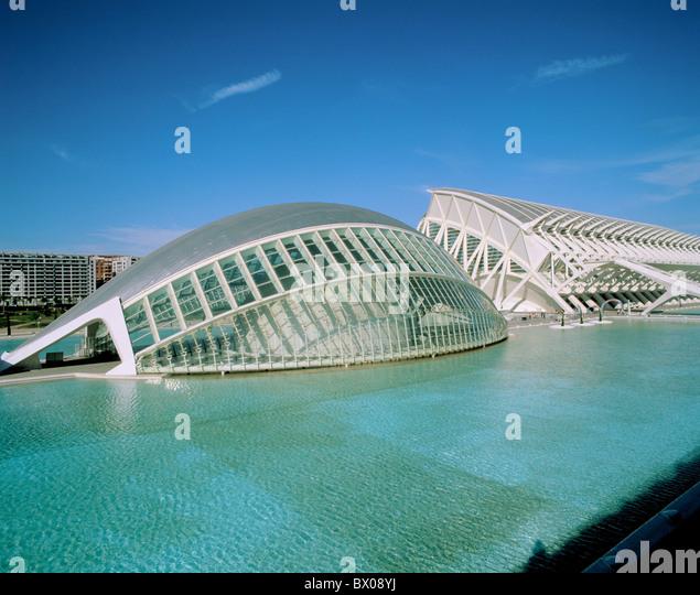 Arts and Science city Calatrava modern building construction Spain Europe Valencia water washbasin - Stock-Bilder