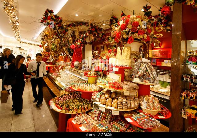 Switzerland Zurich Jelmoli warehouse christmas sweet by Teuscher - Stock Image