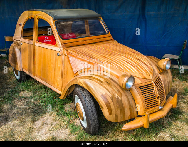 French Citroen 2CV with wooden bodywork - France. - Stock Image