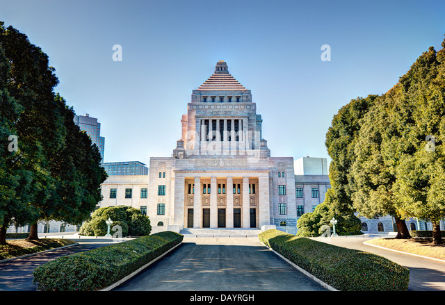 The National Diet House of Japan. - Stock Image