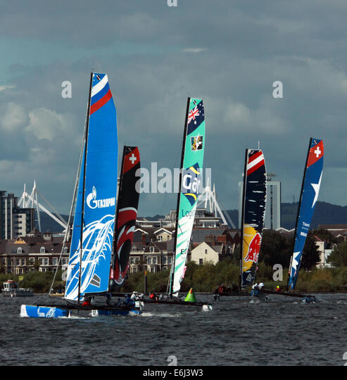 Catamarans taking part in Extreme sailing event in Cardiff Bay, 23rd August 2014 - Stock Image