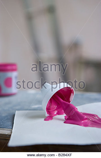 Paint colour sample on work bench - Stock Image