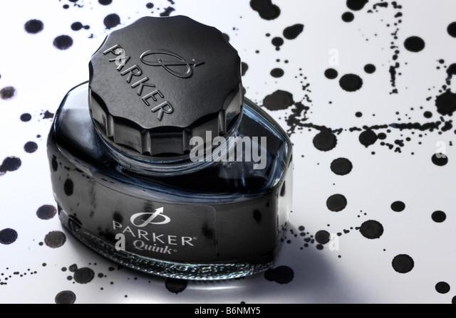 Bottle of Parker ink - Stock Image