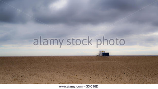 Lifeguard Station - a minimalist coastal photograph. - Stock Image