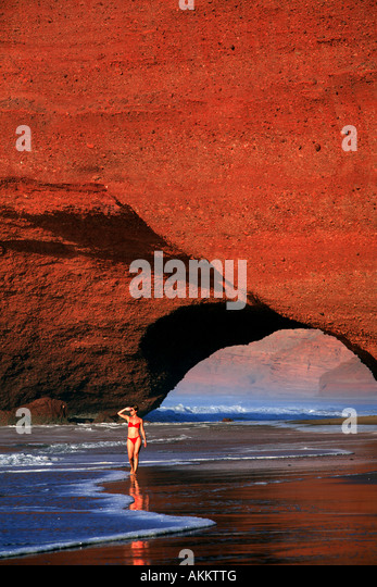 Morocco, Souss region, Atlantic coast in the South of Agadir, Mirleft, the red cliffs of El Gezira - Stock-Bilder