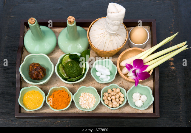 Aromatherapy and Massage Herbs and Spices, Phuket, Thailand - Stock Image