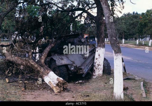 crashed armored vehicle in Kolwezi Zaire, Congo after rebel uprising 1978 - Stock Image