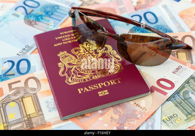 Travel things with British passport Euro currency and sunglasses for travelling to Eurozone countries from UK. European - Stock-Bilder