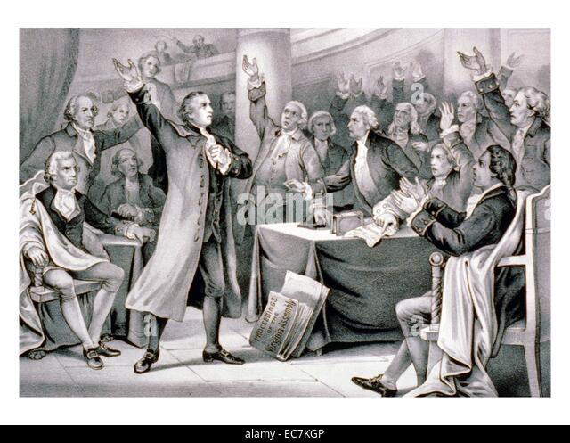 Give me liberty, or give me death! Patrick Henry delivering his speech on the rights of the colonies, before the - Stock Image