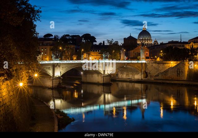 Ponte Vittorio Emanuelle II and the dome of St. Peter's Basilica, Rome, Lazio, Italy, Europe - Stock Image