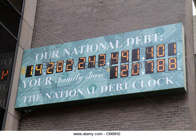 New York New York City NYC Midtown Manhattan 6th Sixth Avenue of the Americas national debt clock federal government - Stock Image